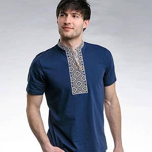 Синяя футболка Козак с бежевой вышивкой крестиком