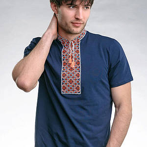 Синяя футболка Козак с красной вышивкой