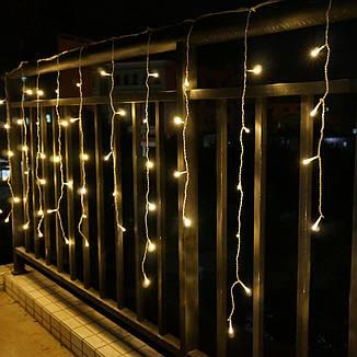 Гирлянда бахрома 3*0,42 м, прозрачный шнур,100 LED, золото, с переходником, фото 2