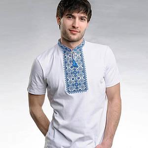 Футболка вышиванка белая Зорян с синей вышивкой