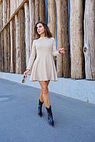 Платье бежевое рубчик, фото 1