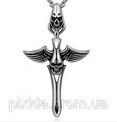 Подвеска нержавеющая сталь Меч, череп, крылья