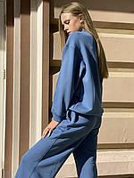 Женский базовый городской костюм повседневный с кюлотами и свитшотом-гольфом осенний синий XS-S, фото 1