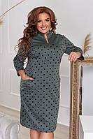 Женское платье батал в горошек  зеленое с 52 по 58р, фото 1