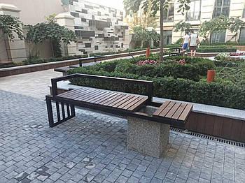 Лавка SDI садово-парковая с вазоном для растений + со спинкой и подлокотниками