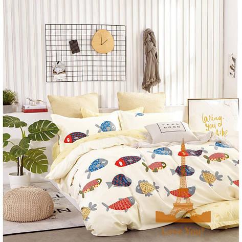 Комплект постельного белья Евро 200Х220 Сатин Хлопок 100% TL190827 Love You, фото 2