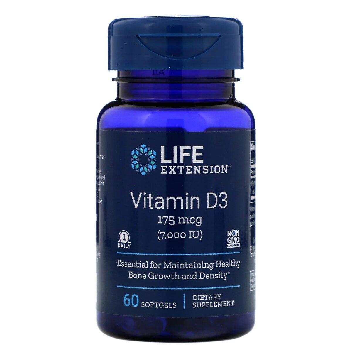 Витамин D3, Life Extension, Vitamin D3, 175 мкг (7000 МЕ), 60 гелевых капсул