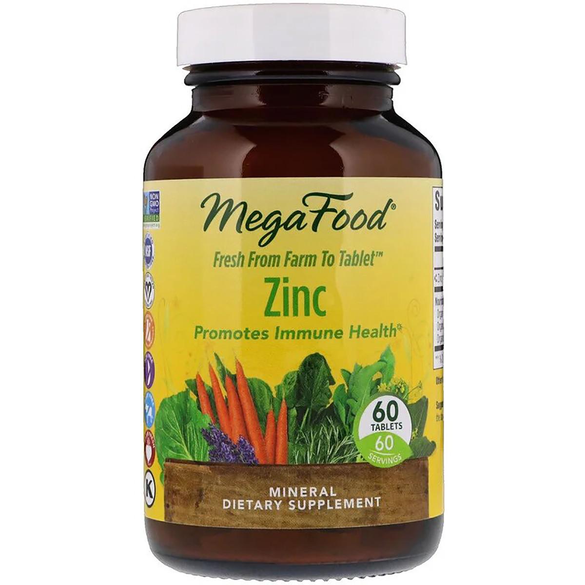 Цинк, Zinc, MegaFood, 60 таблеток