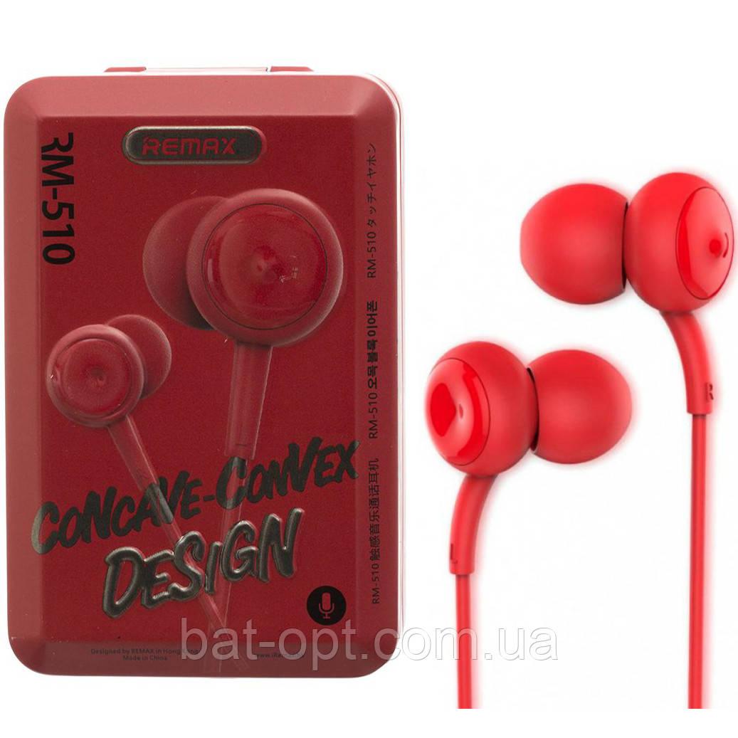 Наушники с микрофоном (гарнитура) Remax RM-510 красные