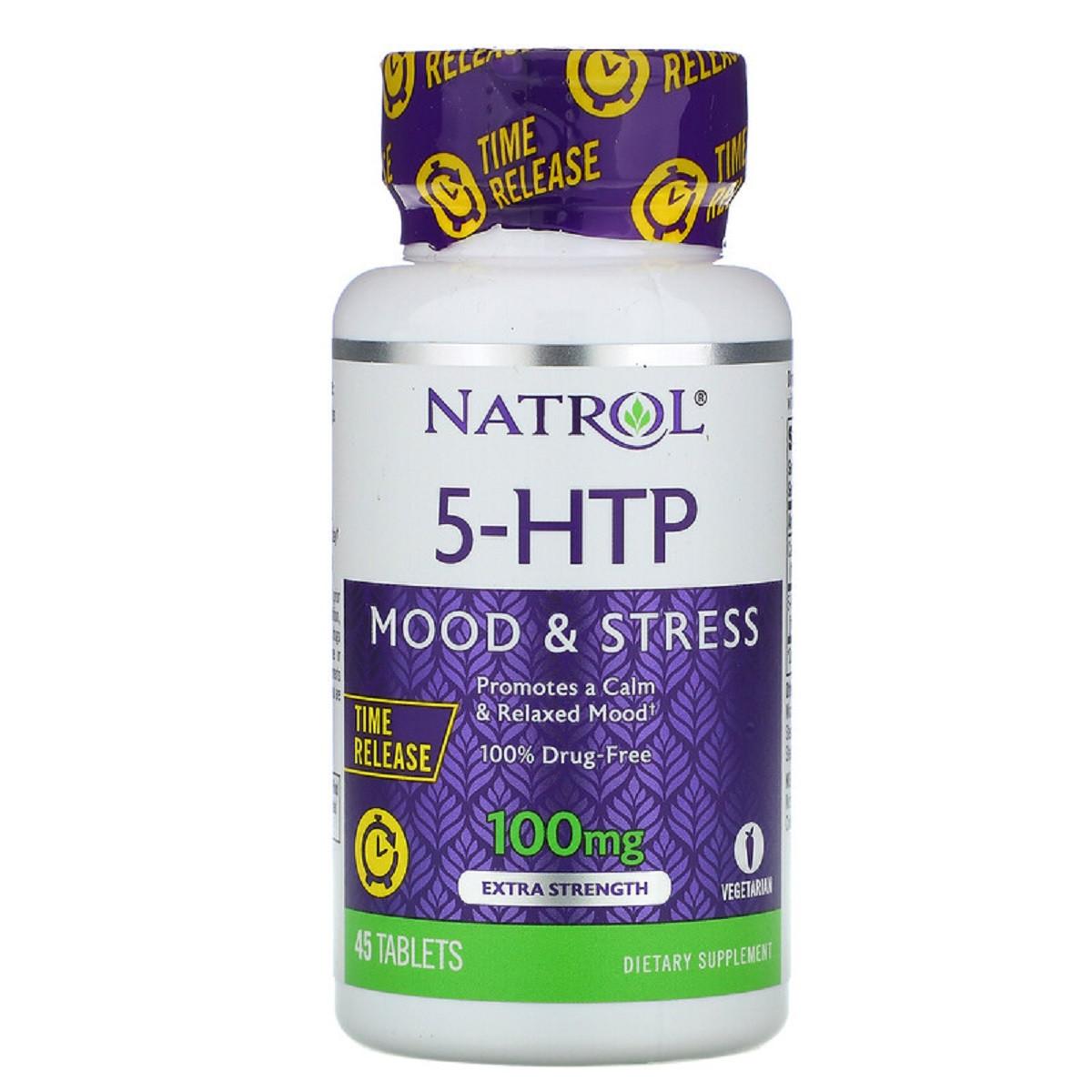 5-HTP (Гидрокситриптофан) 100мг, Медленное Высвобождение, С Повышенной Силой Действия, Natrol, 45 таблеток