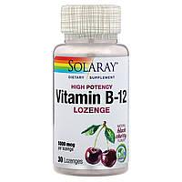Витамин B12, 5000 мкг, вкус натуральной черной вишни, Solaray, 30 леденцов