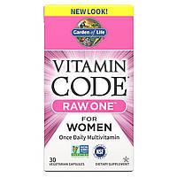 Сырые Мультивитамины для Женщин, Raw One for Women, Vitamin Code, Garden of Life, 30 вегетарианских капсул