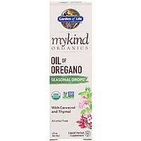 Масло Орегано, Сезонные Капли, MyKind Organics, Garden of Life, 1 жидкая унция (30 мл)