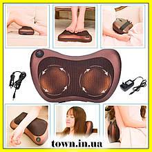 Роликовый массажер для спины и шеи Massage pillow GHM 8028.Массажная подушка, массажер с подогревом