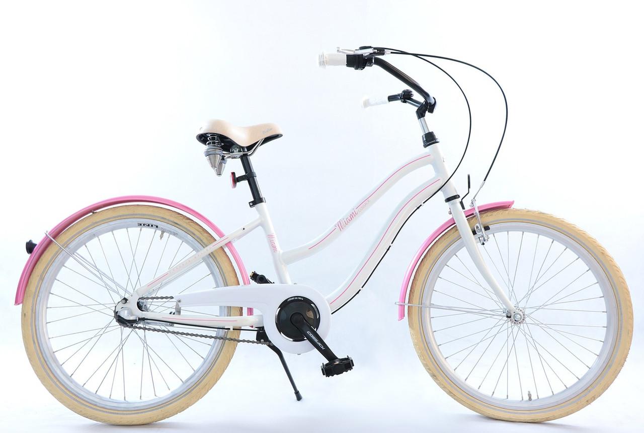 Велосипед дитячий Beach Cruiser Cossack 24 Nexus 3 White-Pink