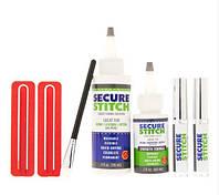Комплект клеев SECURE STITCH c зажимами для фиксации тканей (Фото с товара)