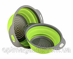 Друшляк силіконовий складаний великий + маленький Collapsible filter baskets, фото 2