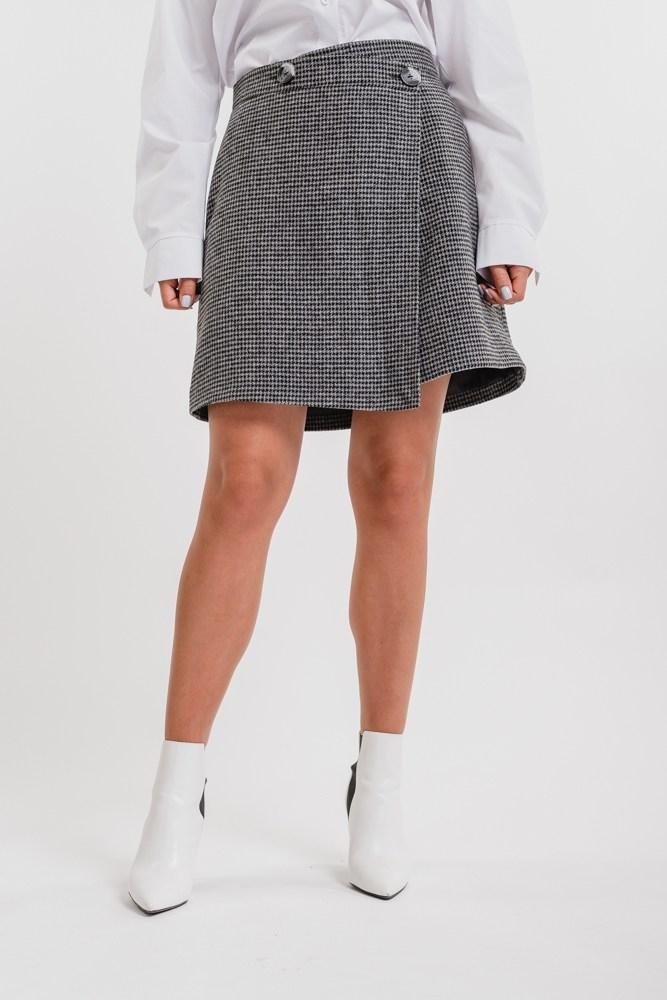 Женская ассиметричная юбка на запах (Серая)