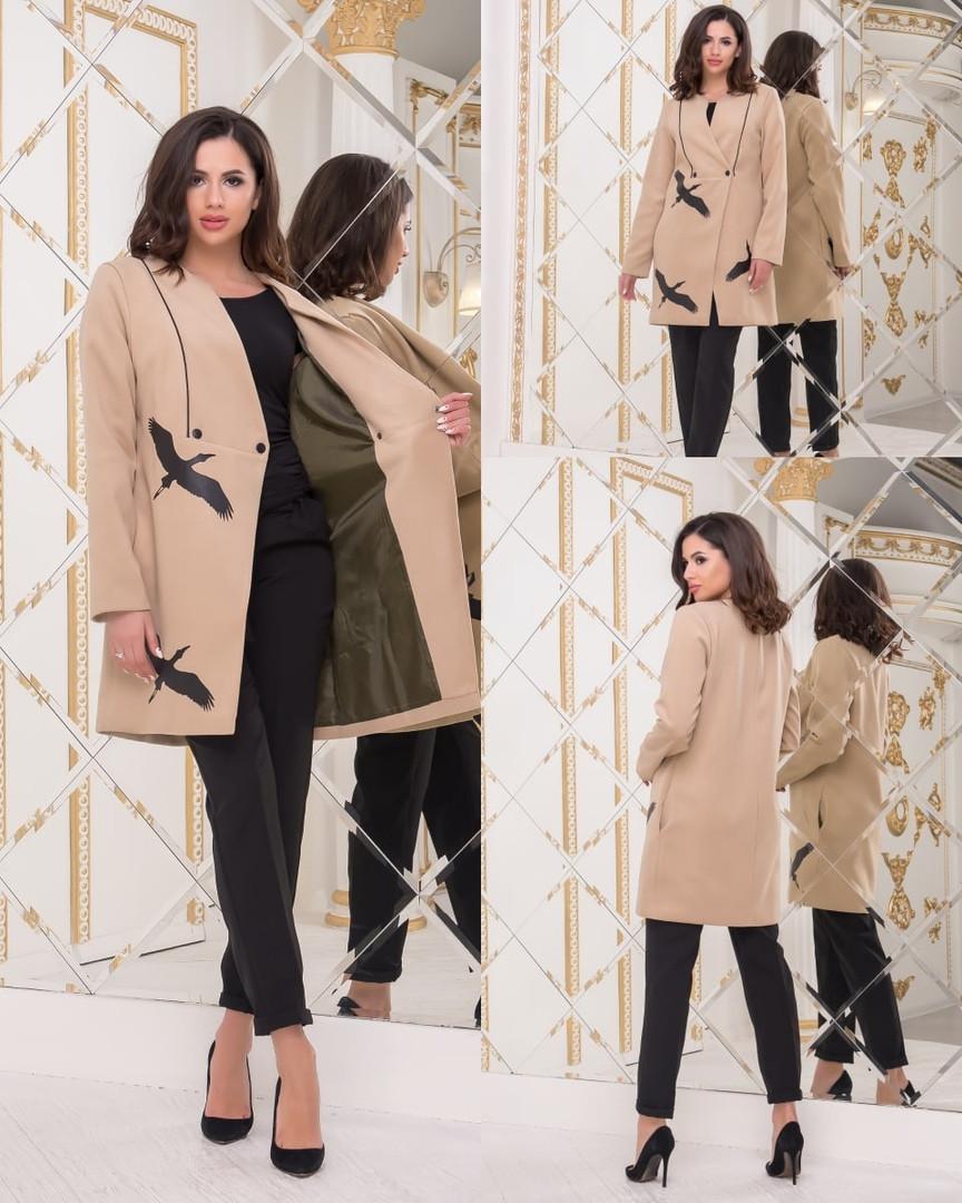 Пальто женское кашемировое на пуговицах с декоративным принтом из экокожи, 3цвета Р-р. 42-44,44-46 Код 144Б