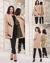 Кашемірове Пальто жіноче на гудзиках з декоративним принтом з екошкіри, 3цвета Р-н. 42-44,44-46 Код 144Б