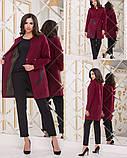 Пальто женское кашемировое на пуговицах с декоративным принтом из экокожи, 3цвета Р-р. 42-44,44-46 Код 144Б, фото 2