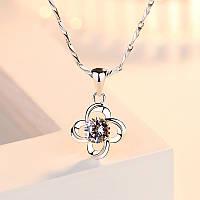 "Подвеска ""Цветок"", кулон в виде цветка, медсплав,подвеска серебряного цвета, цветок с кристаллом FS1757-75"