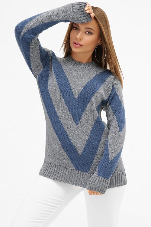 Вязаный женский свитер Роксолана светлый джинс (42-46)