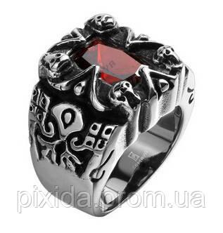Кольцо нержавеющая сталь бордовый