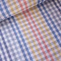 Льон рушникові з кліткою синьою жовтої червоним на білому, ш. 50 см