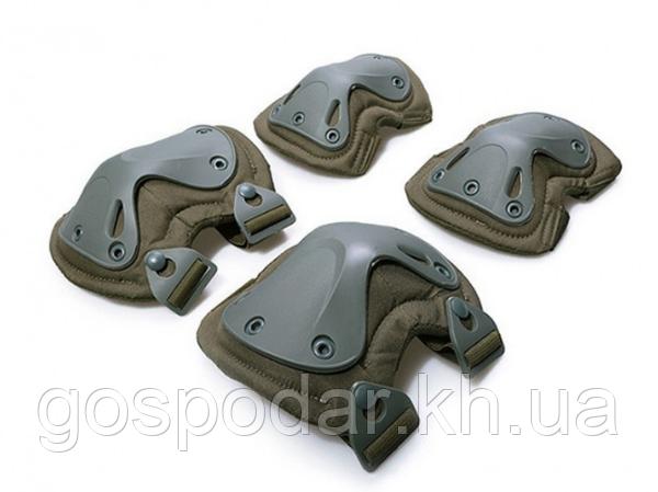 Наколенники и налокотники - комплект защиты тактический. Олива.