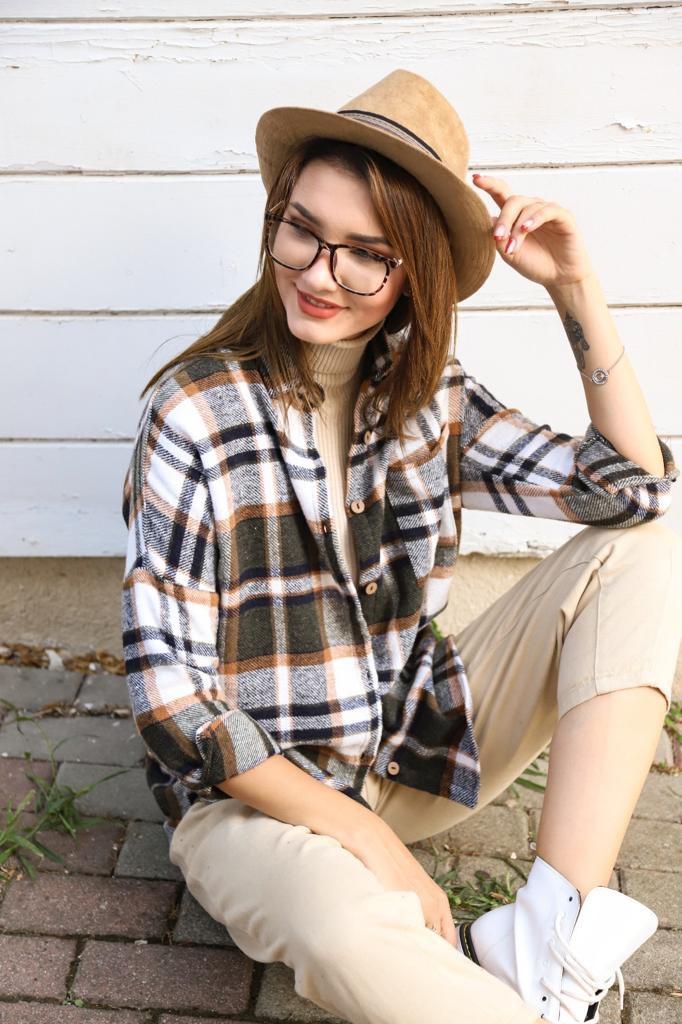 Рубашка в клетку женская Хаки/Серый