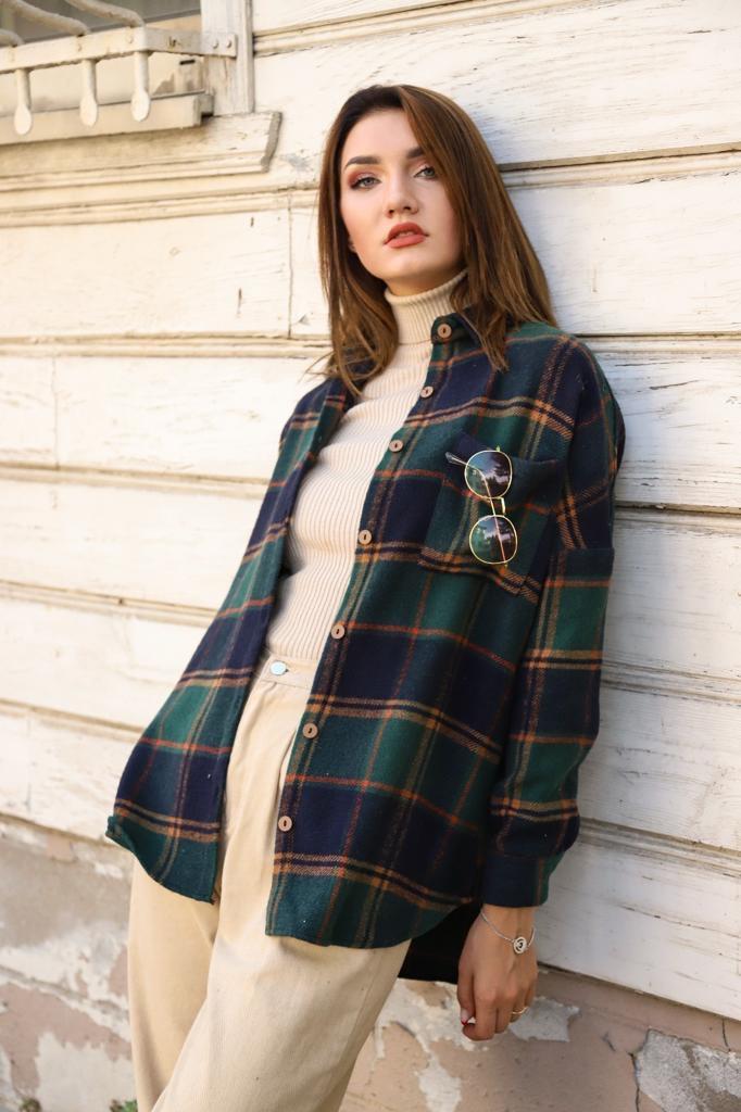 Сорочка в клітку жіноча Синій/Зелений