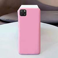 Чехол Soft Touch для Huawei Y5p силикон бампер светло-розовый