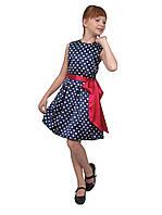 Платье нарядное детское из атласа с поясом М -977 рост 110-140, фото 1