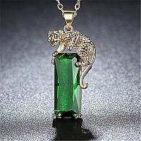Женский кулон с тигром,медсплав, кулон с зеленым кристаллом, кулон на цепочки FS1750-65