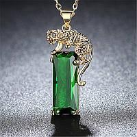 Жіночий кулон з тигром,медсплав, кулон з зеленим кристалом FS1750-65