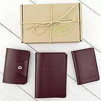 Подарунковий набір №2: обкладинка на паспорт + обкладинка на документи + картхолдер (бордовий), фото 1