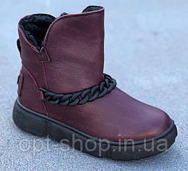Уггі чоботи черевики дитячі підліткові для дівчинки шкіряні зимові овчина