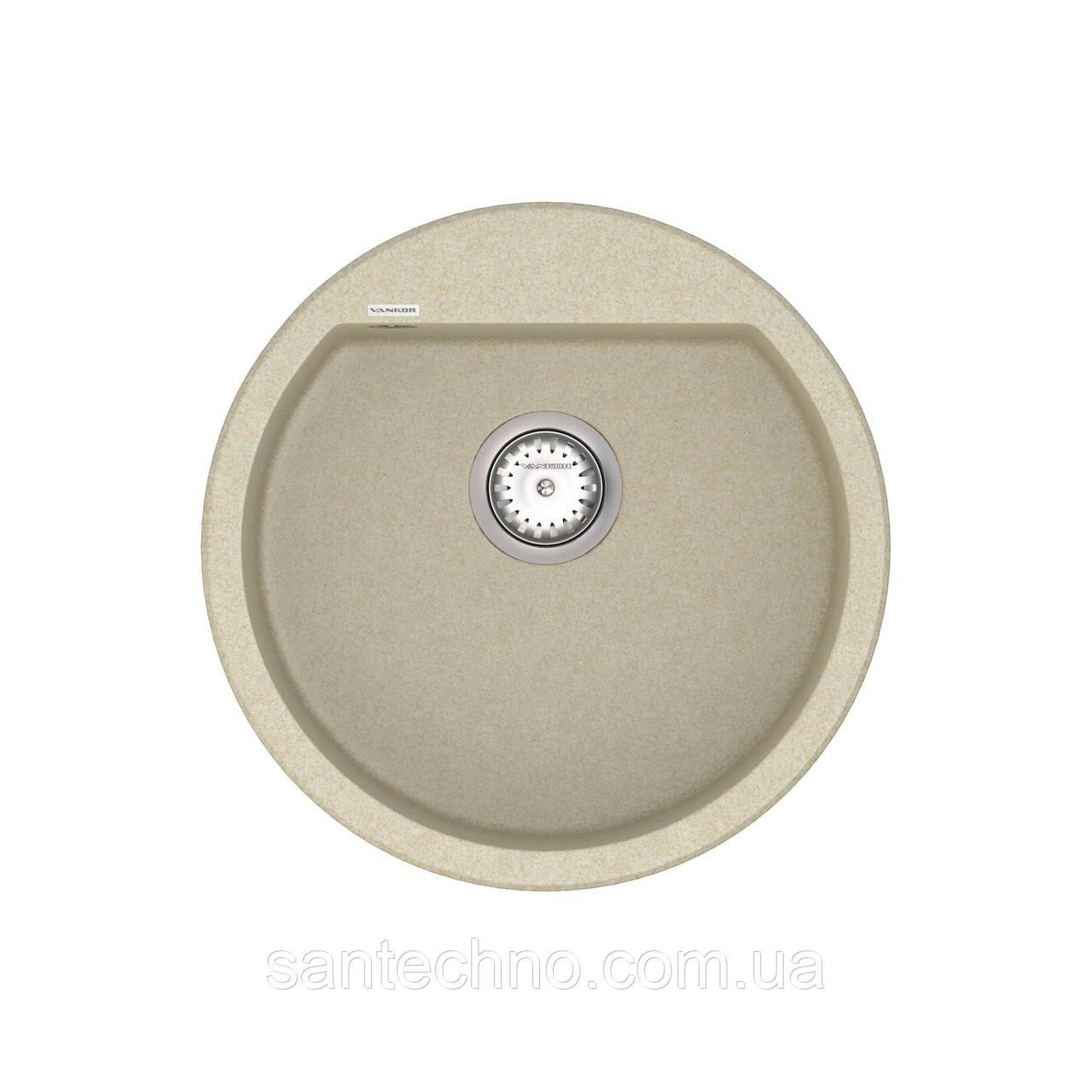 Кухонная круглая врезная мойка VANKOR Tera TMR 01.50 Beige + сифон VANKOR