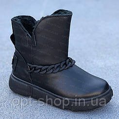 Уггі чоботи черевики дитячі підліткові для дівчинки шкіряні зимові овчина чорні