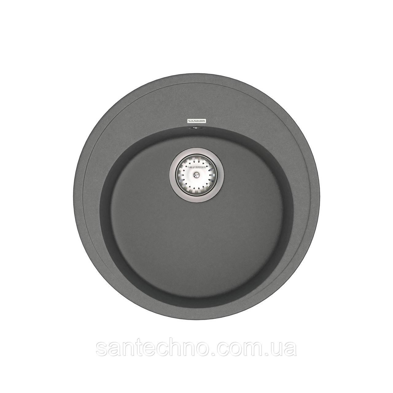 Кухонная мойка из камня  VANKOR Sity SMR 01.50 Gray + сифон VANKOR