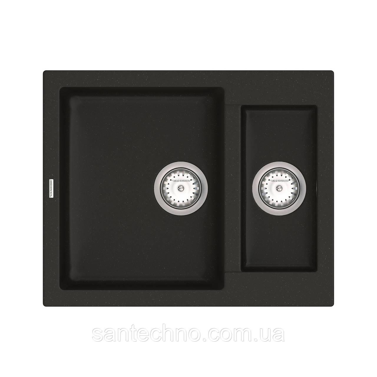 Кухонная врезная мойка на 2 чаши VANKOR Orman OMP 03.61 Black + сифон VANKOR
