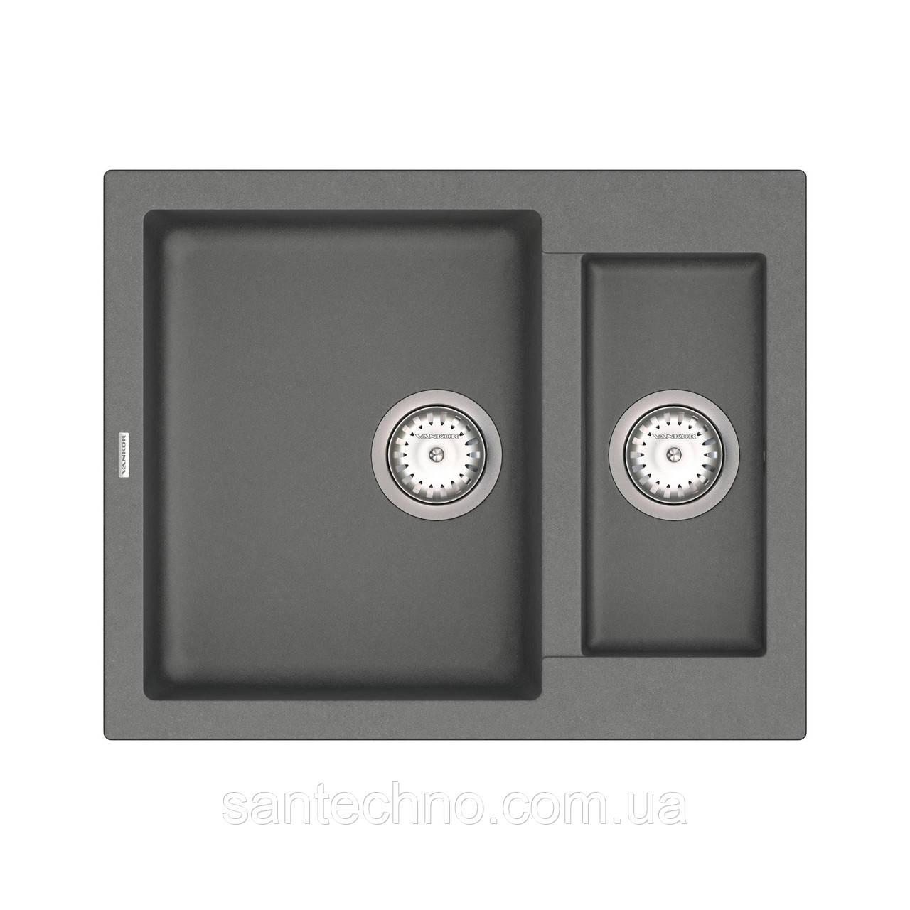 Кухонная мойка из камня на 2 чаши VANKOR Orman OMP 03.61 Gray + сифон VANKOR