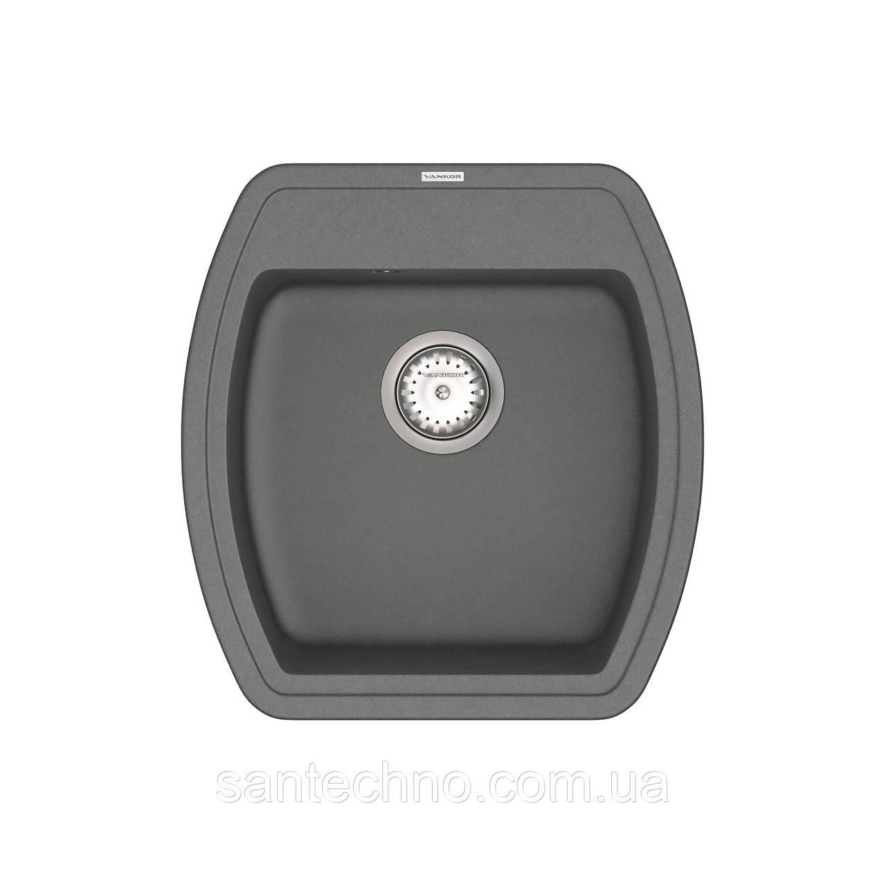 Кухонная врезная мойка VANKOR Norton NMP 01.48 Gray + сифон VANKOR