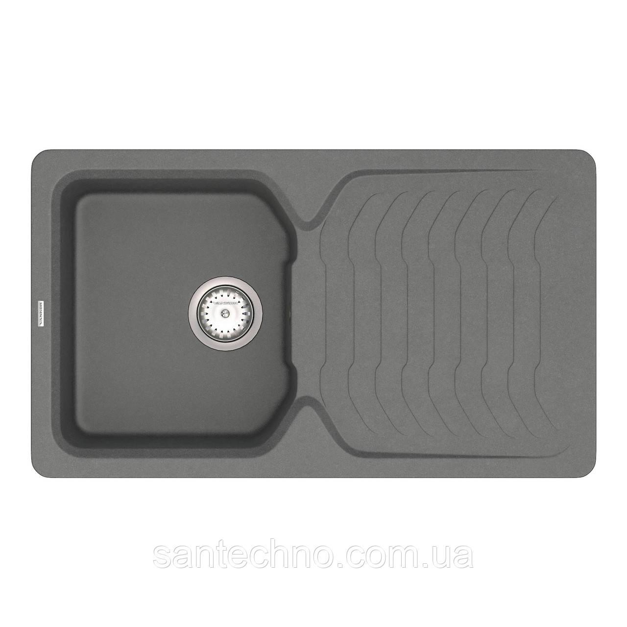 Кухонная мойка из искусственного камня серая VANKOR Sigma SMP 02.85 Gray + сифон VANKOR