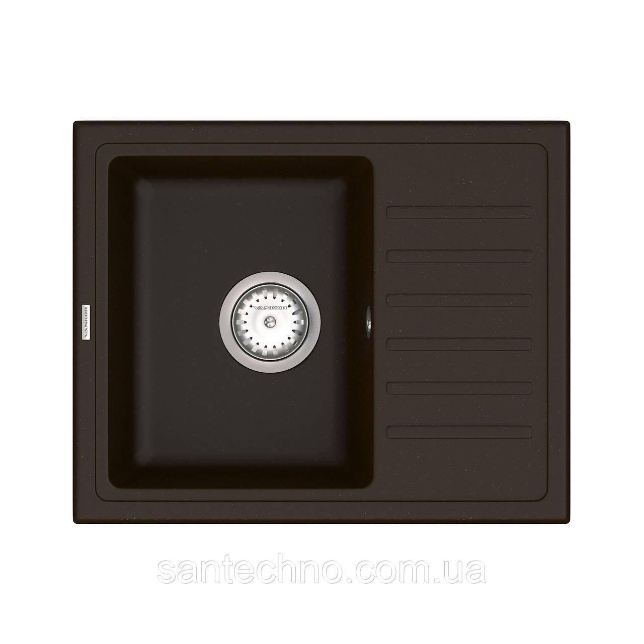 Прямокутна кухонна мийка коричнева VANKOR Lira LMP 02.55 Chocolate + сифон VANKOR