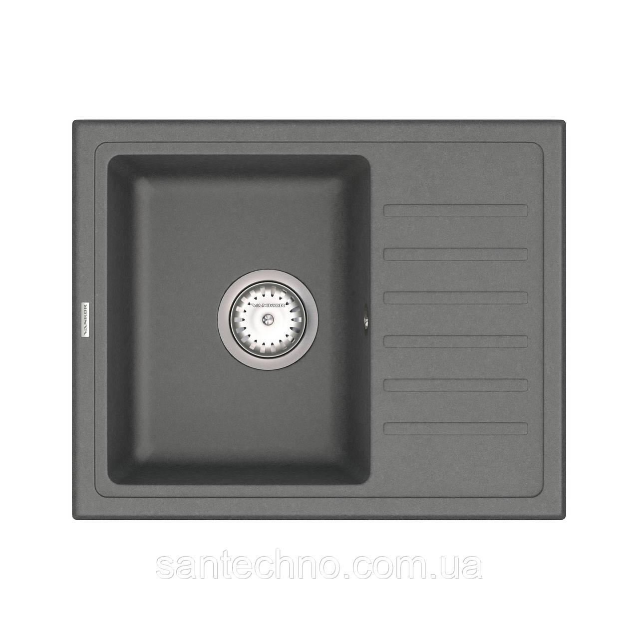 Кухонная мойка с крылом серая VANKOR Lira LMP 02.55 Gray + сифон VANKOR