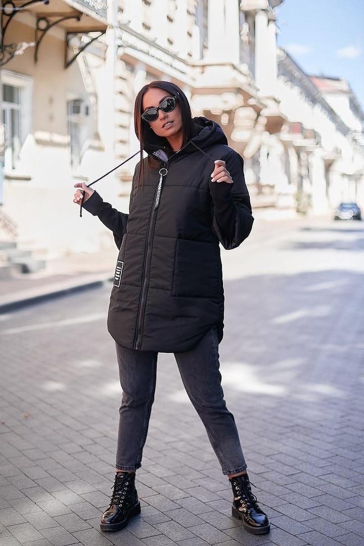 Стильна жіноча тепла куртка з капюшоном (Батал)