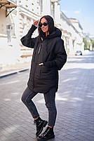 Стильна жіноча тепла куртка з капюшоном (Батал), фото 2