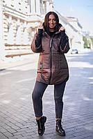 Стильна жіноча тепла куртка з капюшоном (Батал), фото 5